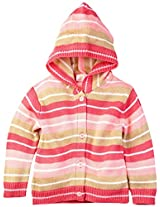 Infant Girls Hooded Sweater Set With Mittens, Pink (0-6 Months)