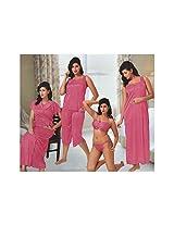 Indiatrendzs Sexy Hot Women's Silk Satin Nighty Pink 6 pc Set Bedroom Sleepwear -Free Size