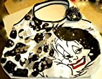 Disney Theme Parks Exclusive Villain Designer Bling Cruella De Vil 101 Dalmations Purse Bag Embroidered Large Tote Black Silver Glitter White Bag Coated Cotton Canvas
