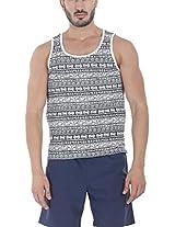 Zobello Men's Allover Printed Summer Tank(21145A_White Tribal Print_XX-Large)