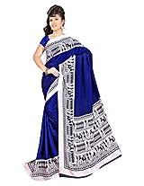 DesiButik's Stunning Blue Crepe Saree with Blouse