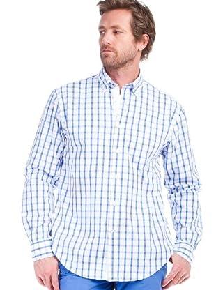 Cortefiel Camisa Cuadros (blanco / azul)