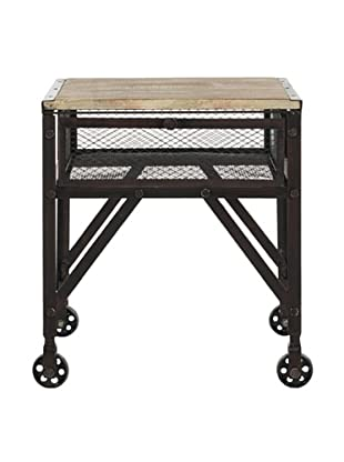 Safavieh Linus Rolling End Table, Natural/Black