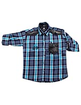 LITTLE MAN Cotton Boy's Shirt (LM15C1_14 , Blue, 14)