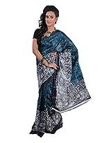 Parichay Women's Silk Saree(Bottle Green & Black)