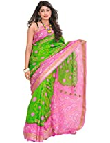 Exotic India Bandhani Tie-Dye Marwari Saree from Jodhpur with Zari Embroidered F - Color Green And PinkColor Free Size
