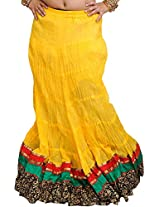 Exotic India Long Ghagra Crinkled Skirt from Jodhpur with Patch Border - Color Bannana CreamGarment Size Free Size