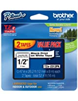 Brother P-Touch TZE2312PK - TZe Standard Adhesive Laminated Labeling Tapes, 1/2w, Black on White, 2/Pack by Brother