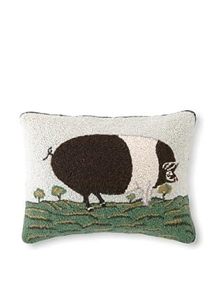 Warren Kimble Mini Black & White Pig Hook Pillow
