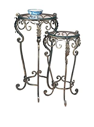 Dessau Home Nested Set of 2 Acanthus Leaf Tables (Bronze)