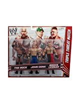 Mattel WWE Wrestling Exclusive Action Figure 3-Pack Brock Lesnar The Rock & John Cena [Triple Threat Match]