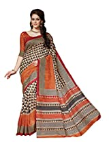 Orange Colour Faux Bhagalpuri Semi Party Wear Geometric Printed Saree 13331
