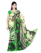 Sonal Trendz Beige & Green Color Printed Georgette Saree with Blouse