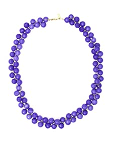 Tuleste Market Long Braided Marble Necklace, Gold/Periwinkle