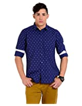 Sting Blue Solid Slim Fit Full Sleeve Cotton Casual Shirt -SG0009B257FXXL