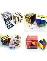 Shengshou 2X2, 3X3 Cube + Golden Mirror Cube + Masterpyramorphix Combo Offer (Black, Golden, Stickerless)