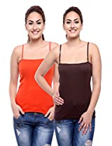 TeeMoods Pack of Two Women's Camisoles_TM-C-1509SAFFRON&BROWN-L