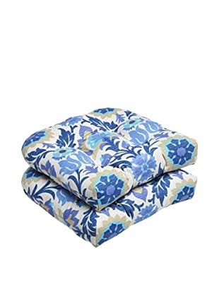 Pillow Perfect Set of 2 Outdoor Santa Maria Wicker Seat Cushions, Azure