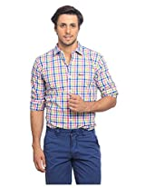 Casual Checked 100 Cotton Slim Shirt -Pink-M