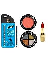 BLUE HEAVEN Xpression Lipstick MO 161, BH Kajal Liner, Eye Magic Eye Shadow 606 & Diamond Blush On 503 Combo.