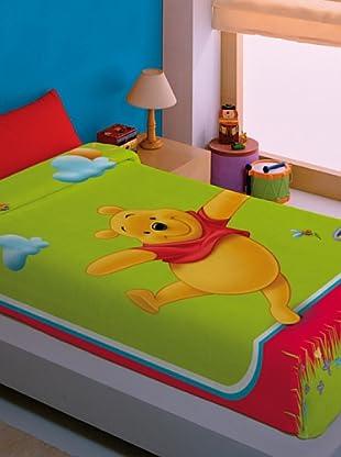 Disney Home Coperta Polar Winnie The Pooh (Verde/Rosso)