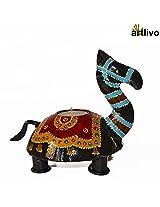 ARTLIVO Handpainted Camel Black Tealight Holder CH042