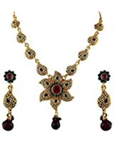 Vivanta Multi-Coloured Gold Plated Necklace And Earrings Set For Women (VD-N129)
