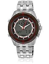 9495Km02J Silver/Red Analog & Digital Watch