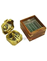 "Antique 3.5 "" Natural Shine Box Sundial Compass with Wood Cover Box Collectible"