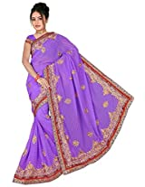 Chinco Embroidered Saree With Blouse Piece (1201-A_Purple)