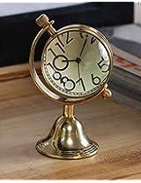 Antique Retro Vintage-Inspired Brass Metal Craft World Globe Table Clock Home Decor - 1.5 Inch
