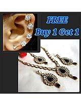 Buy 1 get 1 free black kundan necklace set