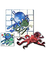 """Oakley the Octopus - Premium Gift Set, Includes """"Oakley in Knots"""" Story Book, Folkmanis Puppet, and 18"""" X 18"""" Canvas Wall Art - CLEARANCE"""