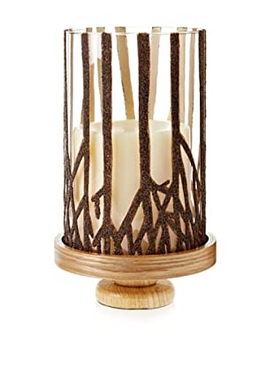 Branch Design Glass Hurricane with Wooden Base