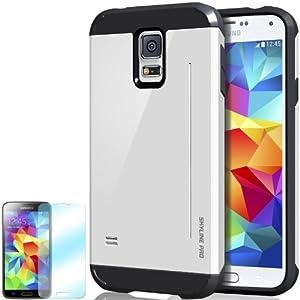 Galaxy S5 Case, Obliq [Kickstand Feature] Samsung Galaxy S5 Case [Skyline Pro] [Cotton White] w/ HD Screen Protector - Premium Slim Fit Dual Layer Hard Case - Verizon, AT&T, Sprint, T-Mobile, International, and Unlocked - Case for Samsung Galaxy S5 SV GS5 2014 Model Mode