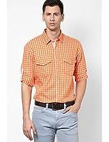 Checks Orange Casual Shirt John Players
