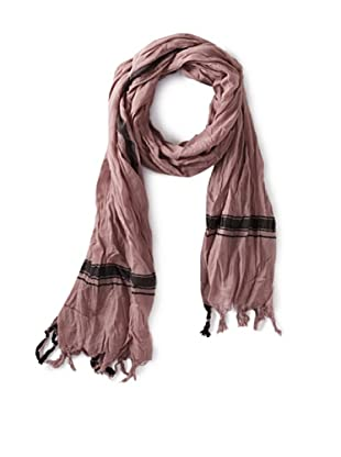 Leigh & Luca Women's Voile Logo Rectangle Scarf with Tassels, Smoke