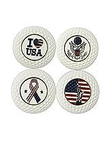 Magnetic Metal Clover Poker Chip Golf Ball Markers, White& Golden (White Poker Chips)