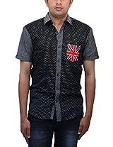Roamno men's Black Cotton Shirt