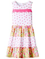 Pink/White Panelled Dress Multi-col 6Y