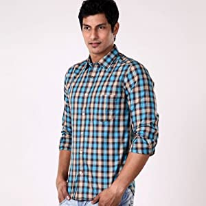 Arrow BLue Men Checks Cotton - Formal Shirts