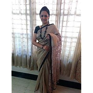 SevenFolds Cream Cotton Silk with Lace Pallu Designer Saree