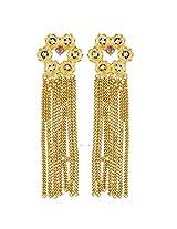 Gehnamart Yellow Gold Plated American Diamond Drop Earring