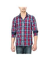 Slub Mens Casual Shirt(SLSH000890C-L_Blue_L)