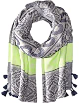 Betsey Johnson Women's Heart Jaquard Blanket Wrap Navy Scarf One Size