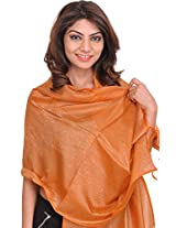 Exotic India Banarasi Scarf with Tanchoi weave - Color NuggetColor Free Size