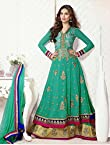 Esha Gupta In Gorgeous Designer Cyan Long Anarkali Suit