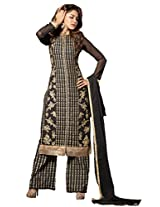 Black Colour Foux Georgette Party Wear Zari Embroidery Plazo Suit 1001