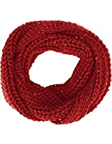 Women Solid Color Knit Infinity Scarf Soft Warm Scarves, Burgundy