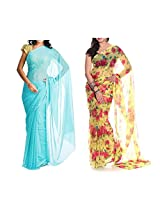 MemSahiba Women Semi-Chiffon Saree set of 2 (MS-1045-652)